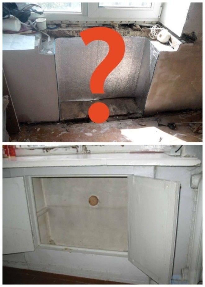 Так выглядел бесплатный советский холодильник организованный под подоконником в кухне