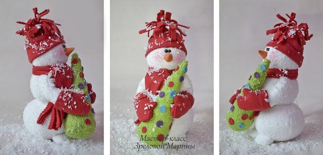 Новогодняя поделка своими руками фото снеговик