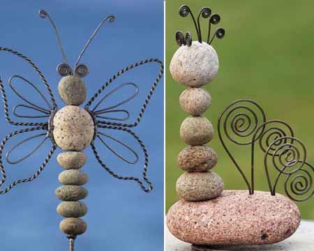 какие поделки для дачи можно сделать из камней
