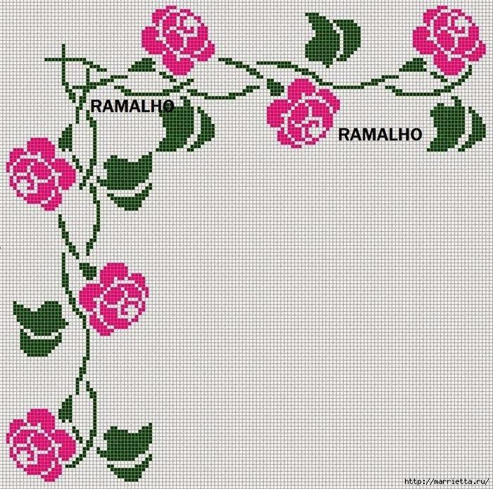Вышиваем розы на скатерти и салфетках. Схемы (9) (700x694, 530Kb)