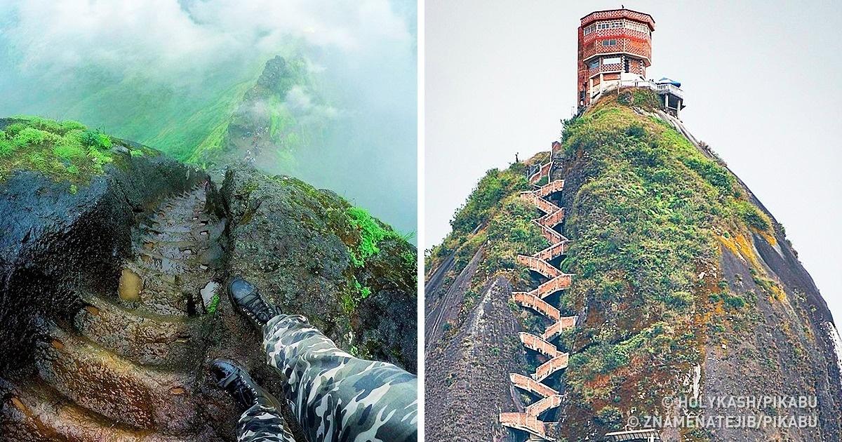 Самые безумные лестницы, на которые отважится забраться далеко не каждый