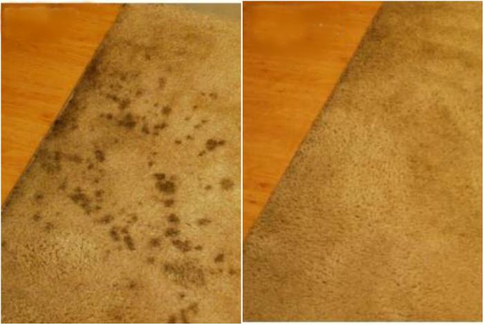С помощью водно-уксусного раствора можно избавиться от пятен на ковре.
