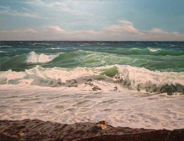море, волна, пена, ветер
