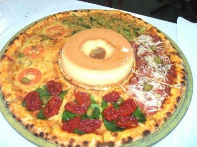 пицца с пончиком
