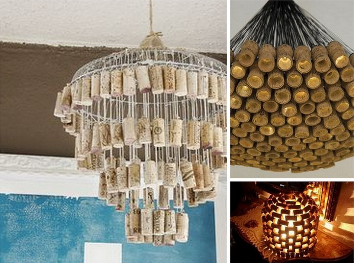 Интересные идеи создания из винных пробок люстр и светильников.