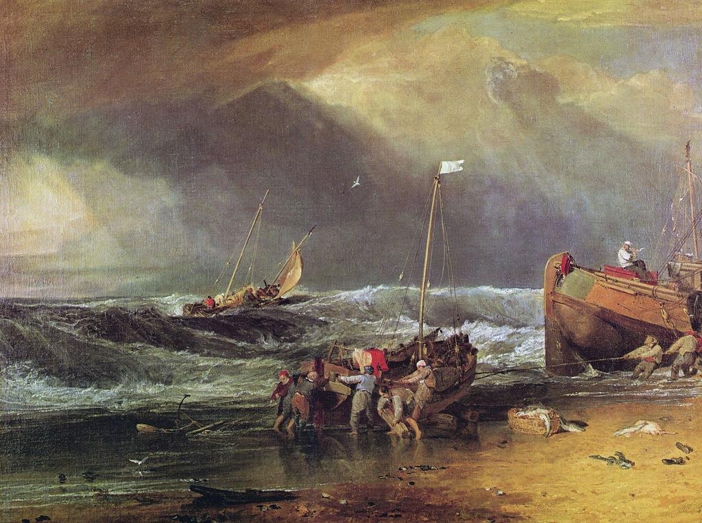 A Coast Scene with Fishermen Hauling a Boat Ashore, 1803.jpg