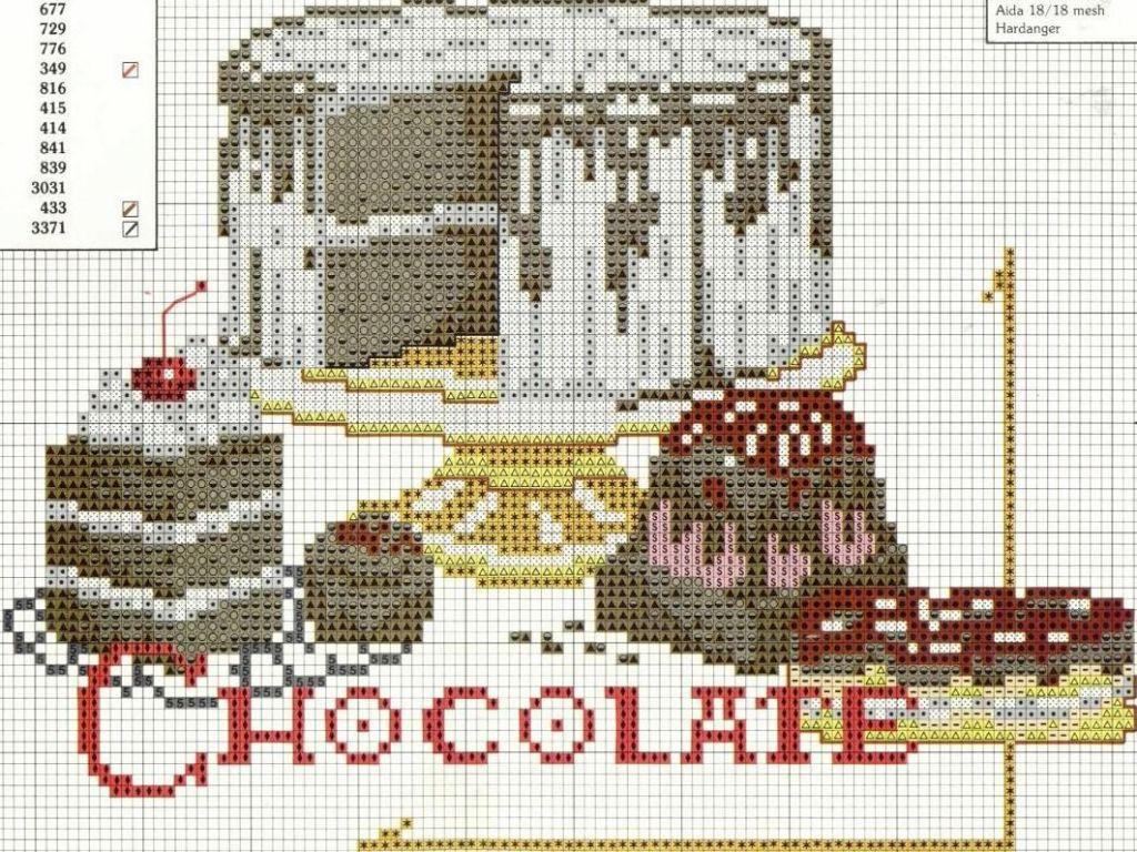 схема вышивания гора пирожных