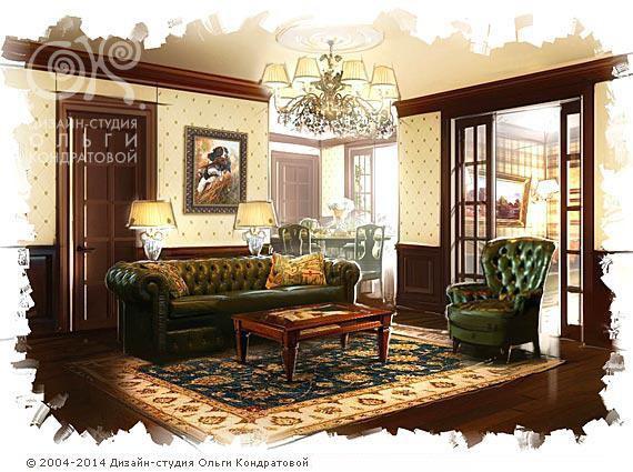 Квартира для ценителей английских традиций