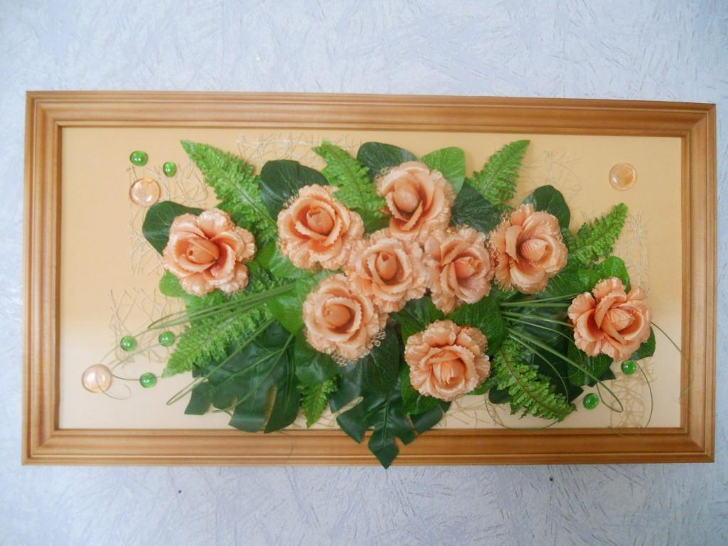 Картины своими руками из искусственных цветов фото