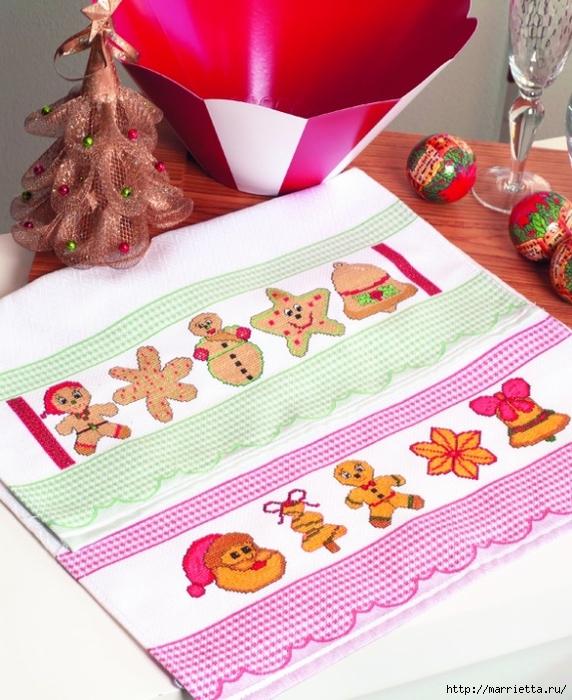 Новогодняя детская вышивка для кухонного полотенца