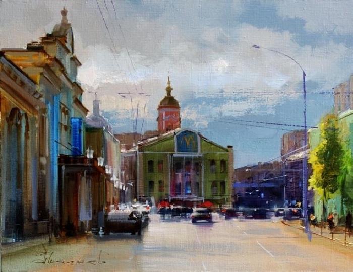 Ностальгический экскурс по старым московским улицам с живописью Алексея Шалаева