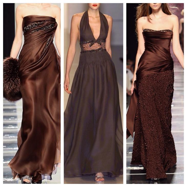 коричневые вечерние платья