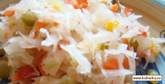 Консервирование и заготовки Капуста квашеная с чесноком и овощами без соли и уксуса