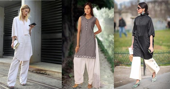 Платье и широкие брюки - сочетание для смелых женщин