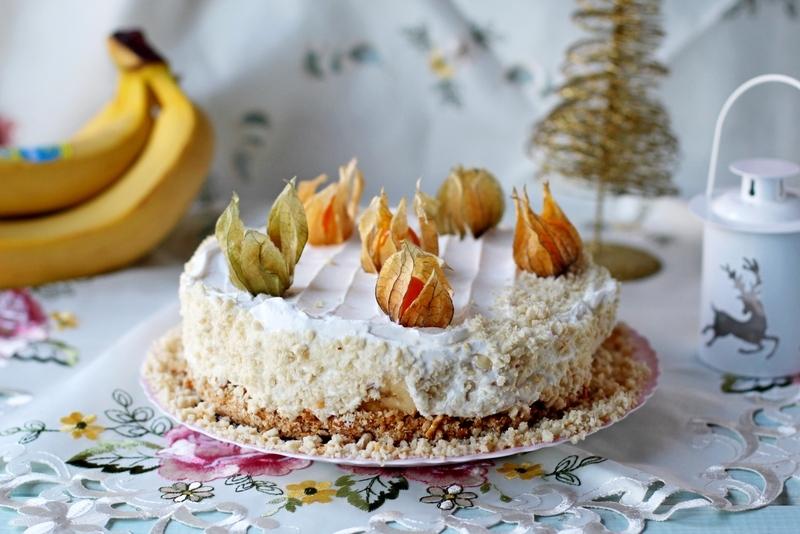 Торт с бананом и сливочным кремом