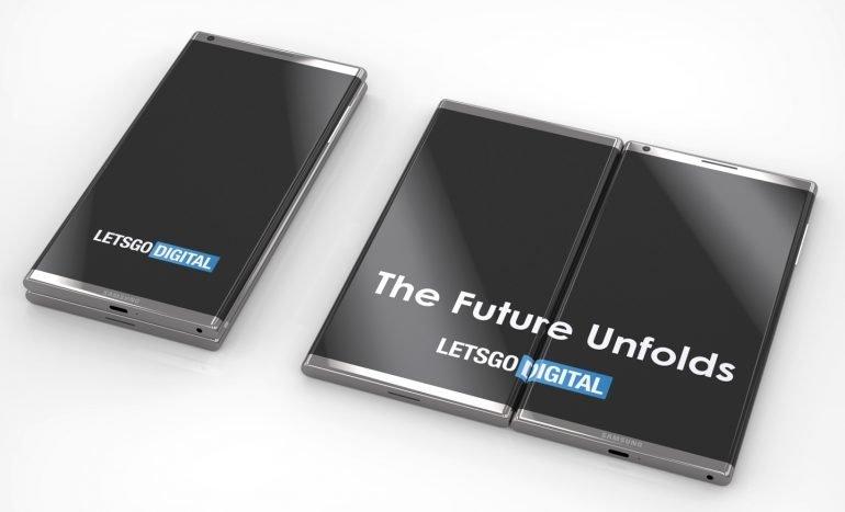 Samsung запатентовали смартфон соскладывающимися вдвое экранами