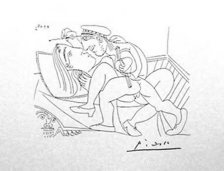 Пабло Пикассо. Подглядывающий из под кровати и художник, занимающийся любовью с моделью. 1968 год