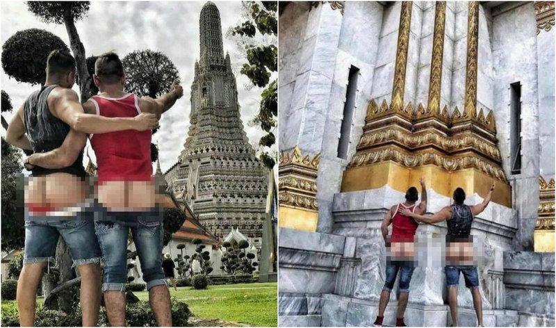 Голозадым путешественникам грозит до 5 лет тюрьмы за снимки возле храма в Таиланде
