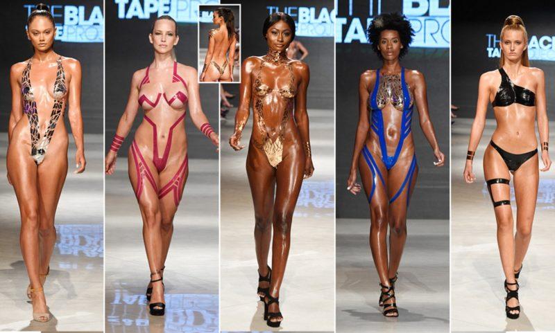 Купальники из скотча представили на неделе моды в Нью-Йорке