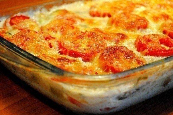 Запеканка из кабачков в яично-сырной заливке