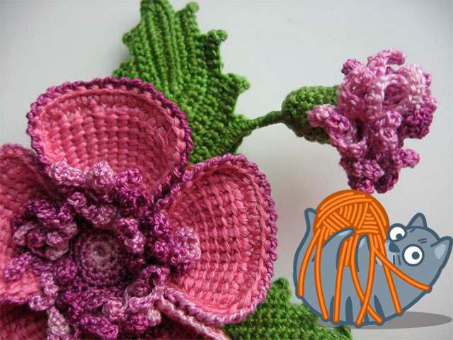 вязаные цветы крючком схемы с описанием как связать цветок мастер