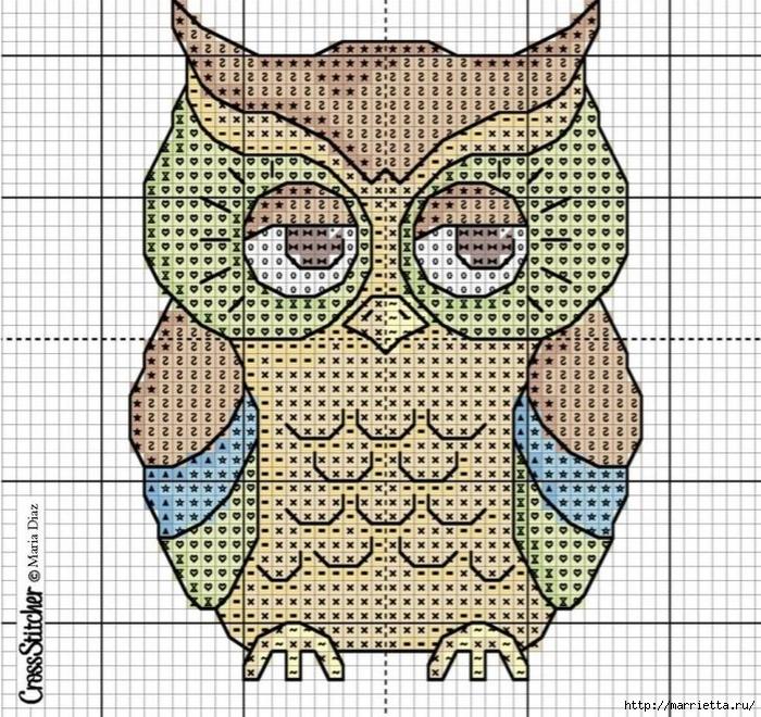 Совушки - вышиваем и вяжем крючком (6) (700x660, 432Kb)