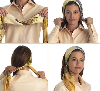 Повяжем  на голову платки. шарфы