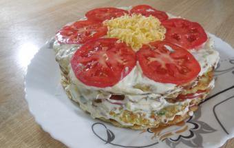 Потрясающая закуска - торт из кабачков