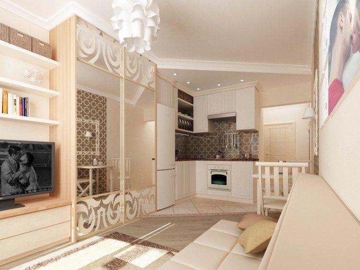 Дизайн квадратной студии 25 кв.м с балконом.