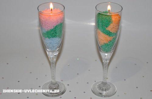 Оригинальная тертая свеча из разноцветного парафина