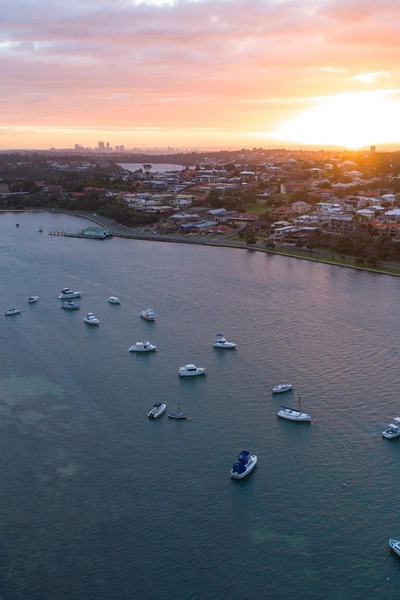 Рассвет над городом австралия, где зимой рай, зима, красота, мягкий климат, пейзажи, тепло, фото