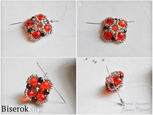 Серьги из бисера в форме цветов, простая схема, понятный мастер класс, схема красивой плетеной бусины