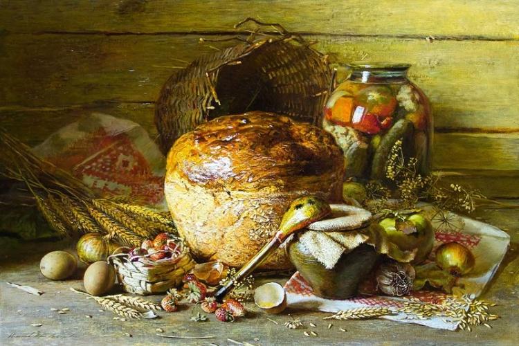 В доме пахнет теплым хлебом, мёдом и цветами....уютные картины Юрия Николаева