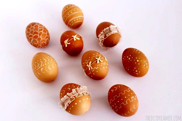 натуральный декор пасхальных яиц