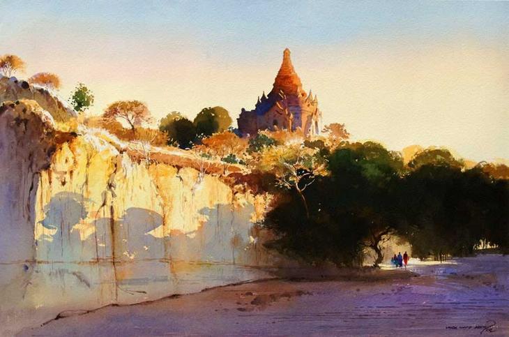 Акварельные картины художник Мьё Вин Онг 11