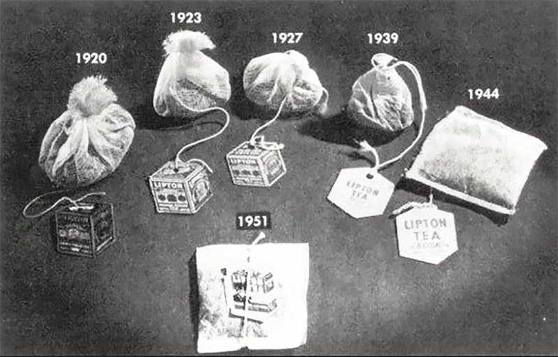 A selection of Lipton tea bags over the years, from 1920 to 1951