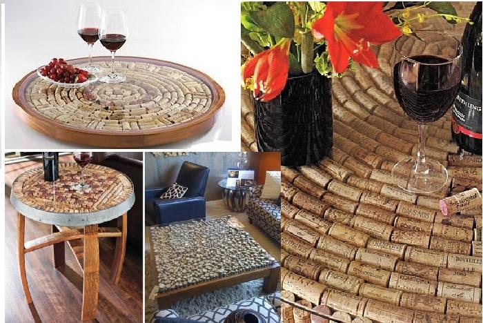 Оригинальный поднос и столы декорированные пробками.
