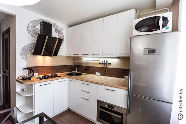 Дизайн белой кухни 6 кв.м