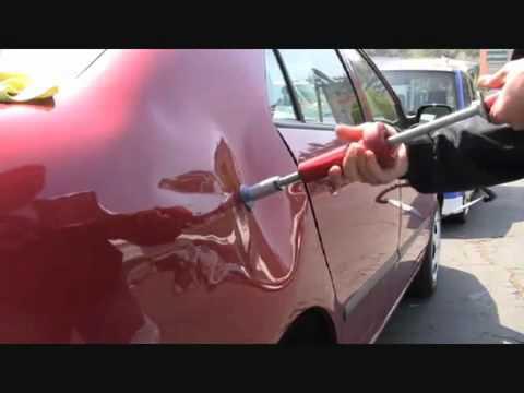 Как убрать вмятину на машине с феном