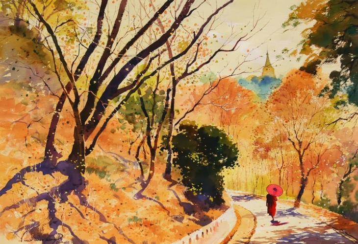 Акварельные картины художник Мьё Вин Онг 32