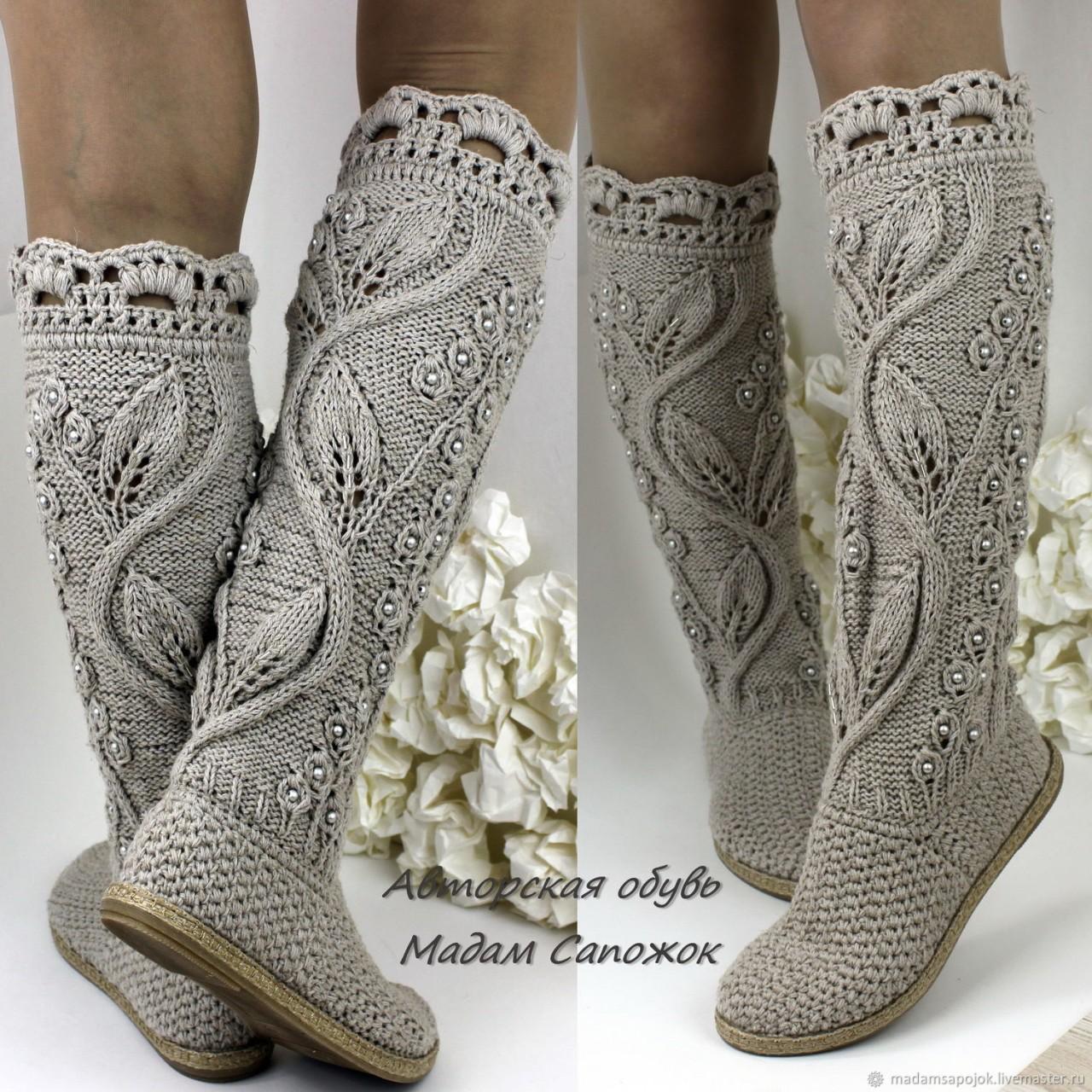 Идеи для любителей вязания - красивая вязаная  обувь от мастера Мадам Сапожок Ксения