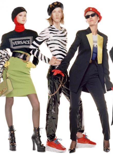 Versace осень-зима 2018-2019 — тартан, кожа и броские аксессуары