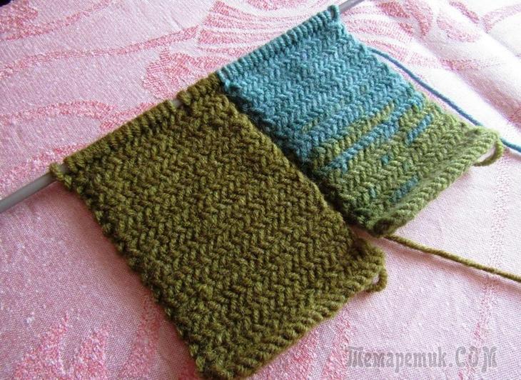 Узор «Твид» или «Ёлочка» для вязания тёплых вещей