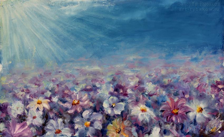 Абстрактные полевые цветы - цветочная весенняя картина маслом