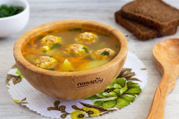 Куриный суп с сырными фрикадельками