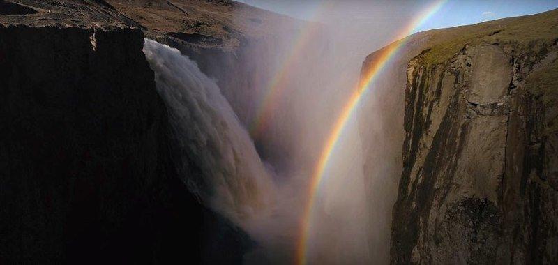 Радуги над водопадом дрон, исландия, кадр, красота, мир, природа, съемка