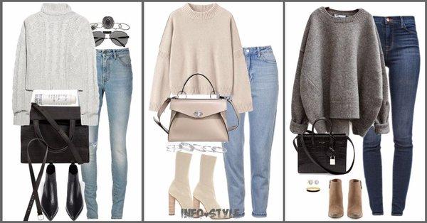 Свитер+джинсы: 8 уютных осенних образов
