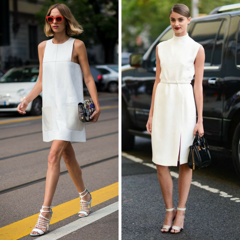 Девушки в белых платьях из плотного материала