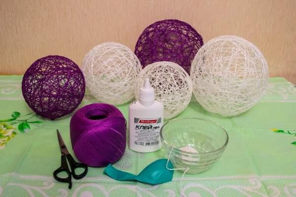 Идеи для дома своими руками - шар из ниток