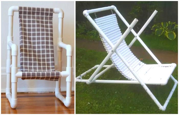Шезлонги и стулья из пластиковых труб.